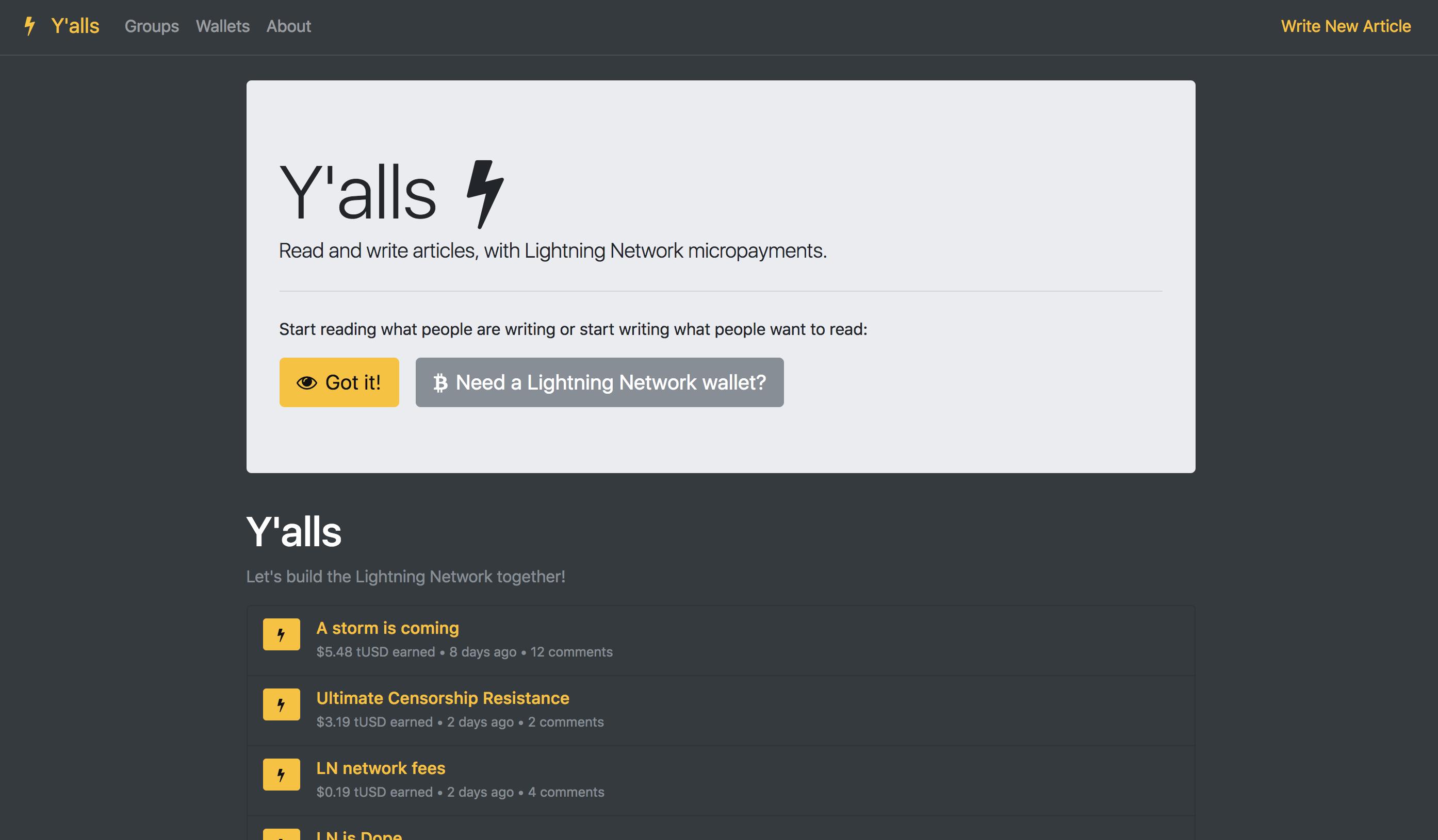 Screenshot of Yalls home view